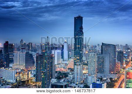 Night city of Bangkok Thailand Night scene of Bangkok of Thailand.