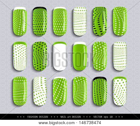 Nail art design. A set overhead nail, labels, stickers, elements for design. Ideas for manicure, pedicure, beauty salons, modeling agencies. Fashion trends. Collection in color. Vector illustration