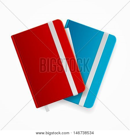 Blank Copybook Template Set with Elastic Band and Bookmark. Red and Blue Vector illustration