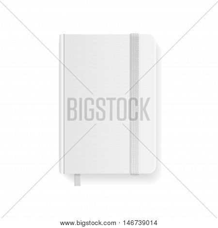 Blank White Copybook Template with Elastic Band and Bookmark. Vector illustration