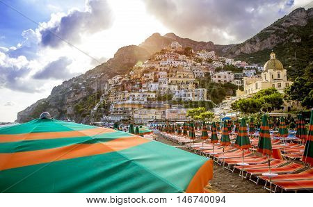 Panorama of Positano village. Amalfi Coast Italy