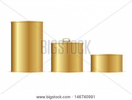 Set of Gold Tin Cans. Different Size for Your Business. Vector illustration
