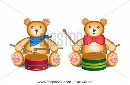 Teddy bear drummer set