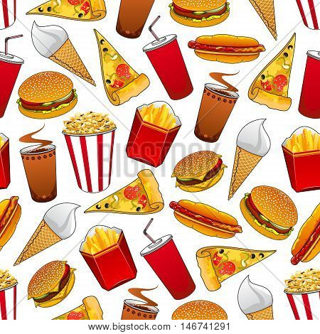 Junk food seamless pattern with fast food hamburger cheeseburger, pizza, hot dog, coffee and soda drinks, french fries, ice cream cone and popcorn bucket