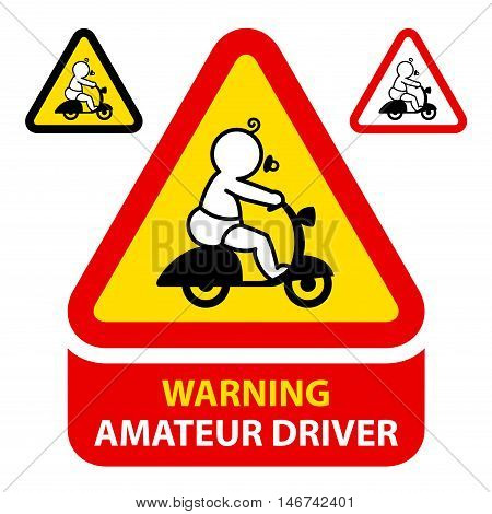 Warning sticker for amateur driver like a baby driving a scooter