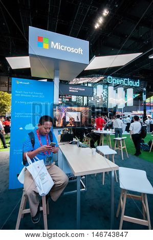SHANGHAI CHINA - AUGUST 31 2016: Booth of Microsoft company at Connect 2016 information technology conference and exhibition in Shanghai China on August 31 2016.