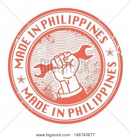 Grunge rubber stamp with words Made in Philippines inside, vector illustration