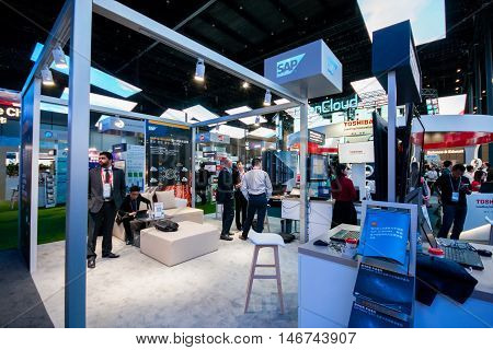 SHANGHAI CHINA - AUGUST 31 2016: Booth of SAP company at Connect 2016 information technology conference and exhibition in Shanghai China on August 31 2016.