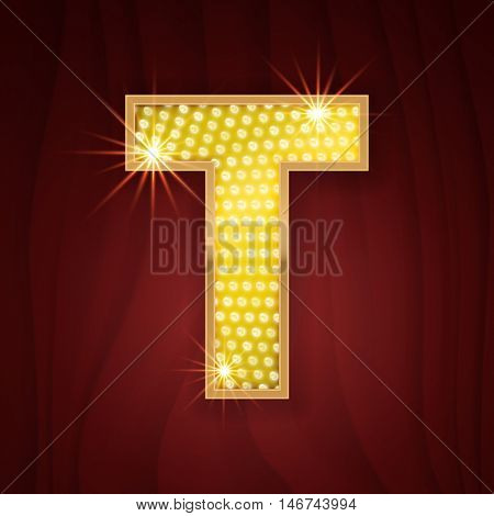 Gold light lamp bulb letter T. Sparkling lightning glittering alphabet. Rich glitz stylish glowing shining golden alphabet letter