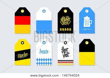 Collection of Oktoberfest gift tags. Germany, Bavaria, Munich. Set of German Beer Fest labels with hand drawn elements. Holiday badge design. Vector illustration.