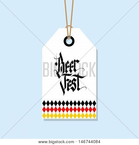 Oktoberfest tag. German Beer Fest label with hand drawn element. Holiday badge design. Vector illustration.