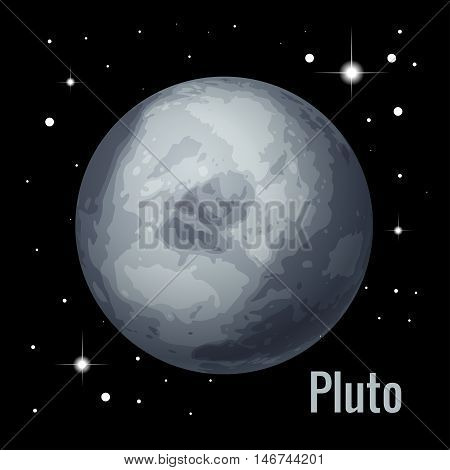 Pluto planet 3d vector illustration. High quality isometric solar system planets