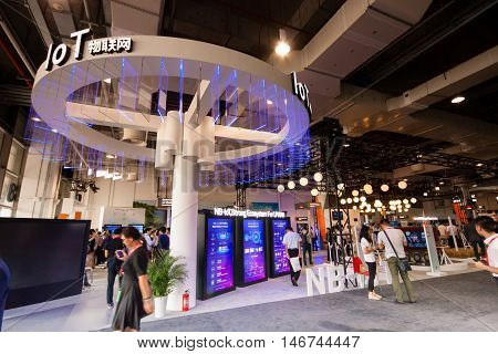 SHANGHAI CHINA - SEPTEMBER 2 2016: Internet of things Huawei booth at Connect 2016 information technology conference and exhibition in Shanghai China on September 2 2016.