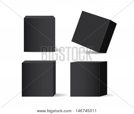Vector black box collection isolated on white background. Ideal for mock up of packaging or other job.