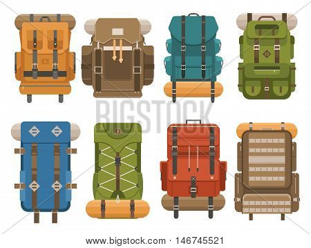 Camping backpack set in flat design. Tourist retro backpacks outline vector illustration. Classic styled hiking backpacks with sleeping bags. Back pack collection for hike and tourism. Hiking bag icon