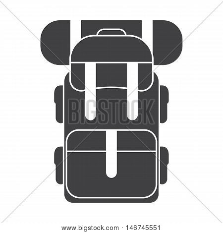 Tourist hiker backpack icon. Adventure traveler backpacker rucksack outline pictogram for web an applications. Vector backpack silhouette isolated on white background.