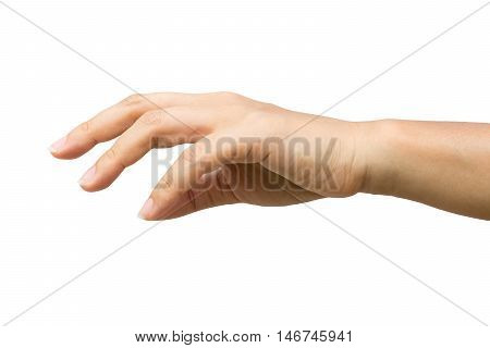 Women hand reaching for something.Clipping path included