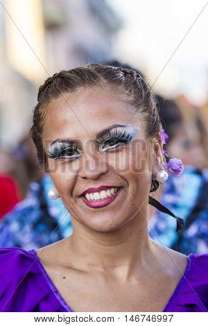 QUARTU S.E. ITALY - July 15 2016: 30 ^ Sciampitta - International festival of folklore - Grupo de danzas albricias of San Martin de los Andes (Argentina) -Sardegna