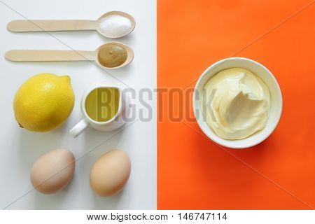 Mayonnaise recipe concept set of ingredients for cooking mayo at home view from above
