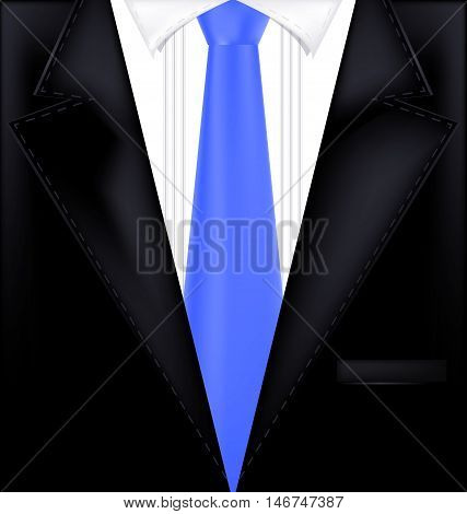abstract black male suit with blue tie
