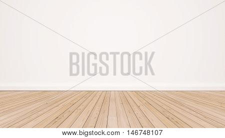 Oak wood floor with white wall, modern interior
