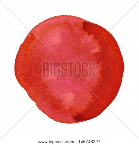 Abstract red watercolor painted circle isolated on white background