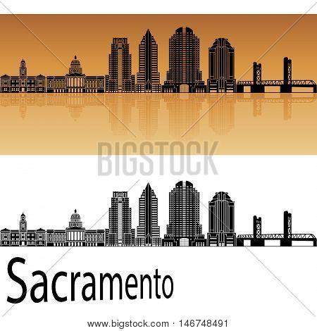 Sacramento skyline in orange background in editable vector file
