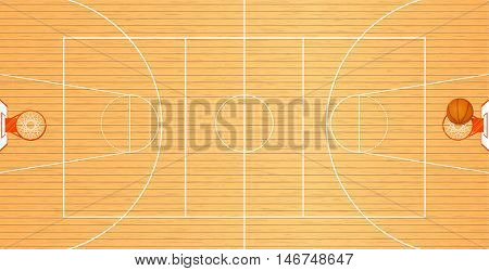 Vector illustration a basketball court top view a ball in a basket tournament area team sport