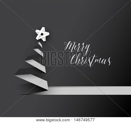 Simple vector christmas tree made from black and white paper stripe - original new year card