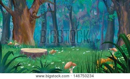 Mushrooms around the stump in a forest glade. Digital Painting Background Illustration in cartoon style character.