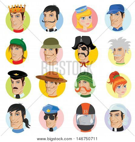 Set of vector character profession avatar icons.