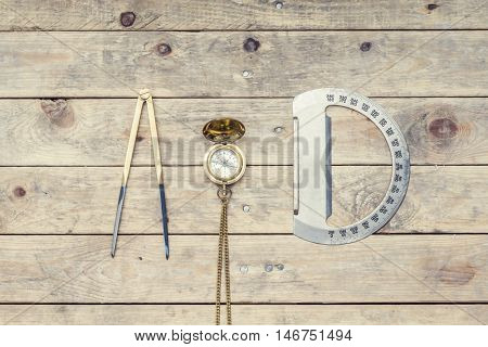 Navigation still-life. Skipper equipment, compass, ruler and protractor. Sailing concept.