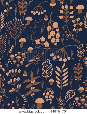 Hand drawn seamless vector pattern. Fall themed background with a bear