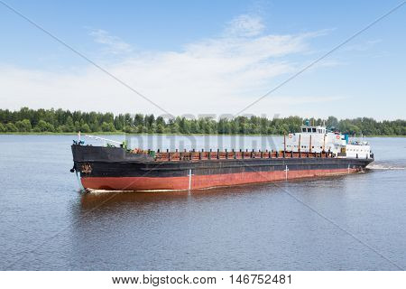 River cargo ship goes along the Volga River, Russia.