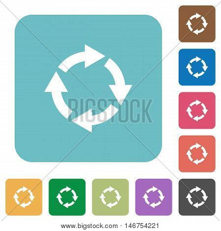 Flat rotate right icons on rounded square color backgrounds.