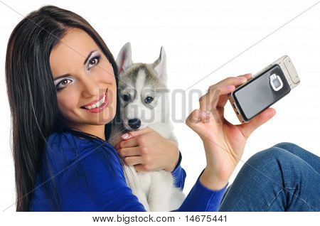 Woman And Puppy Photo