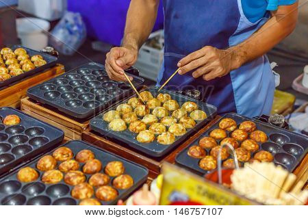 cooking takoyaki by chef and daily food