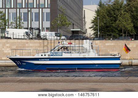 Berlin Germany - September 9 2016: Police boat on river Spree in Berlin Germany