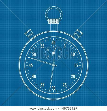 Stop watch. Vector illustration on blueprint background