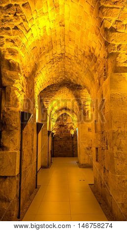 Tunnel in the Citadel of Acre- Israel