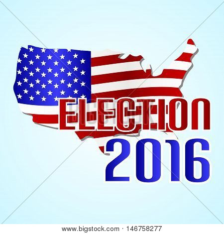 Election 2016 In The United States Of America With Map  Flag Eps10