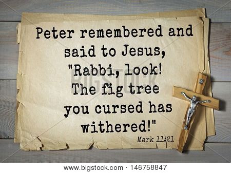 TOP-350. Bible verses from Mark.Peter remembered and said to Jesus,