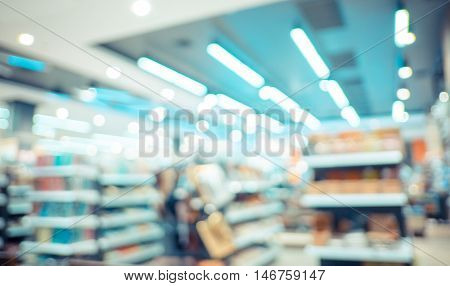 Blurred Background : Vintage Filter ,product Shelf At Store Blur Background With Bokeh