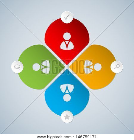 Basic social networking options icon set with person symbol