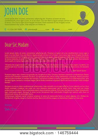 Modern colorful cover letter resume cv template design with color labels