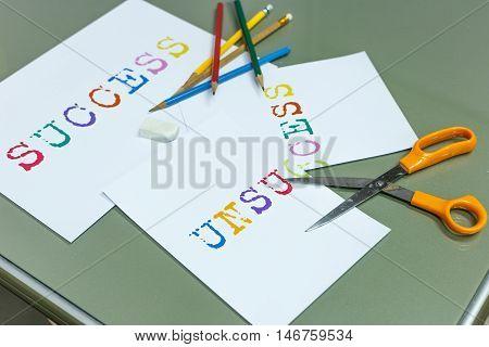 Cutting unsuccess for success target, scissors and pencil