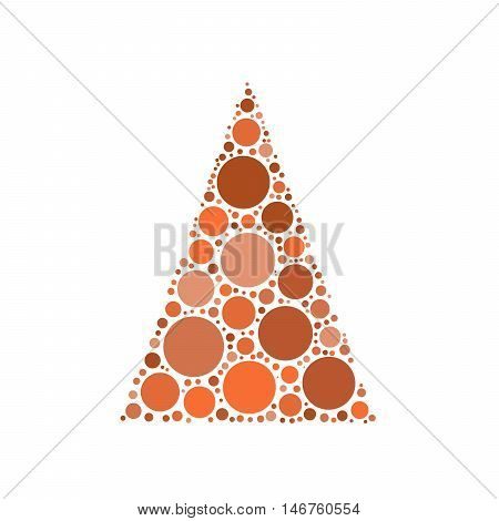 Simple abstract chrismas tree of dots, or circles, in a triangle shape. Orange illustration on white background.