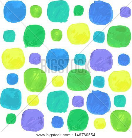 Vector Watercolor Seamless Pattern With Blue Green and Yellow Blobs. Full editable pattern in swatches. Clipping paths included.