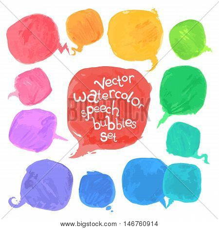 Vector Watercolor Speech Bubbles Set. Isolated on White. Clipping paths included.