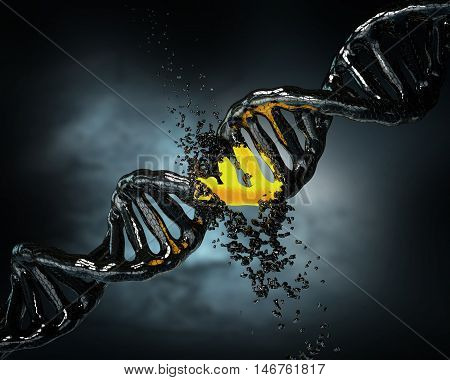 Concept Of Biochemistry With Collapse Dna Molecule On Blue Background